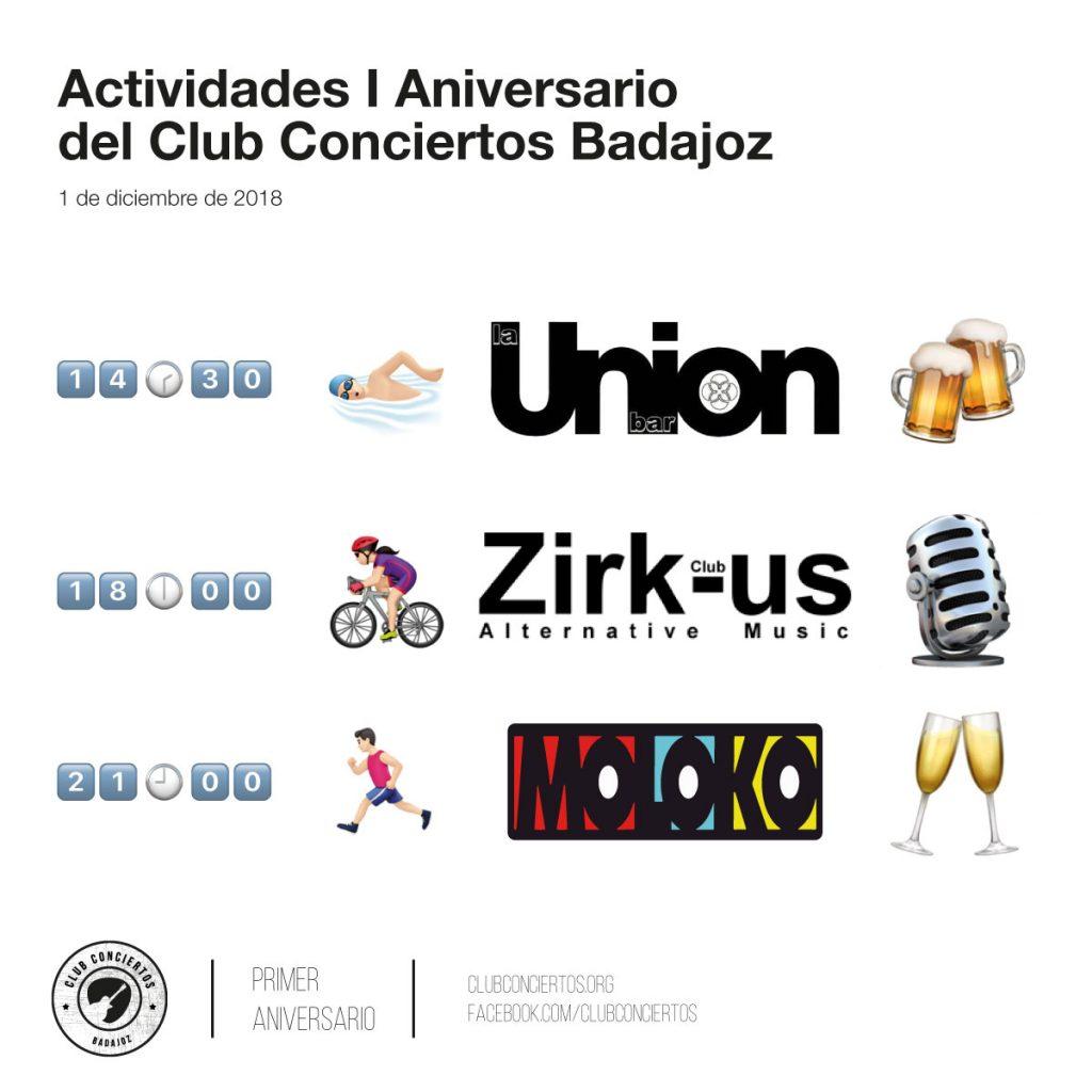 Actividades del primer aniversario del Club Conciertos Badajoz